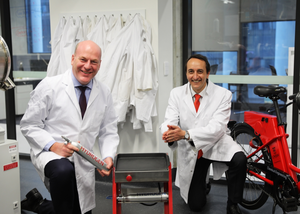 Mr Trent Zimmerman MP and Mr Dave Sharma MP with HERC Hydrogen BBQ and Hydrogen bicycle